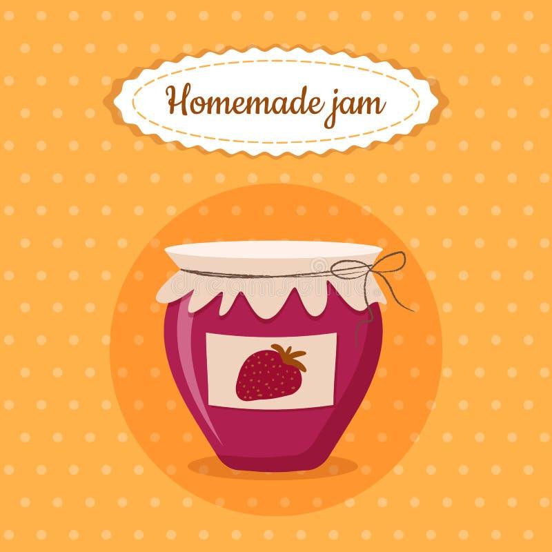 Ejemplo hecho en casa del vector de la comida del postre de la fresa del tarro lindo dulce del atasco para el cartel, postal, men ilustración del vector