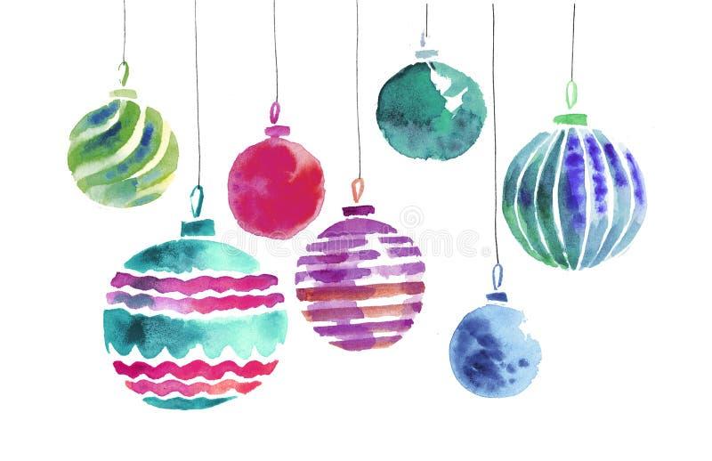 Ejemplo hecho a mano de la acuarela de los bulbos de la Navidad ilustración del vector