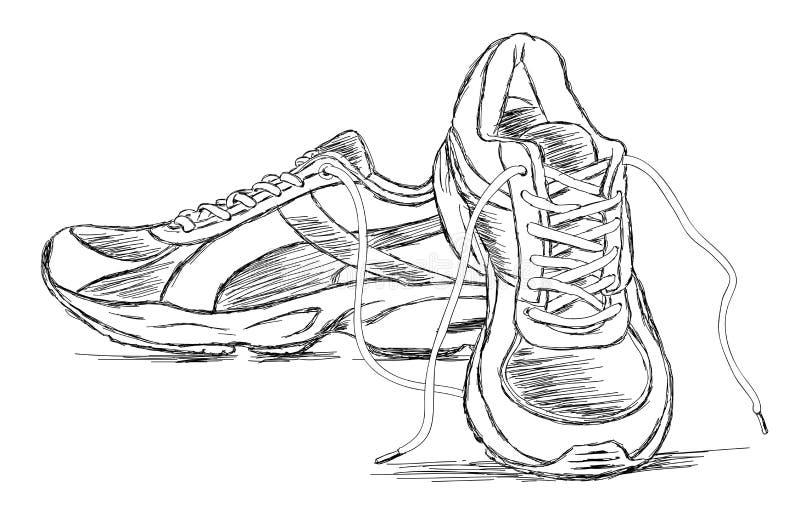 Ejemplo hecho a mano del bosquejo del vector del zapato de los deportes de las zapatillas de deporte ilustración del vector
