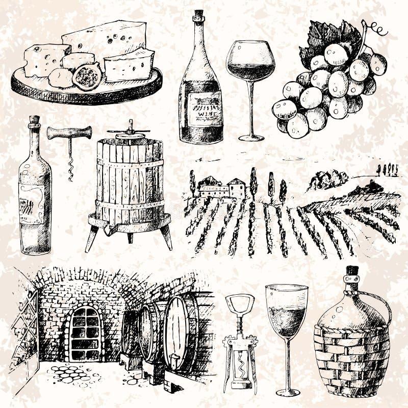 Ejemplo hecho a mano del vector de la bebida de la uva de la fermentación del bosquejo de la vinificación del proyecto de la prod stock de ilustración