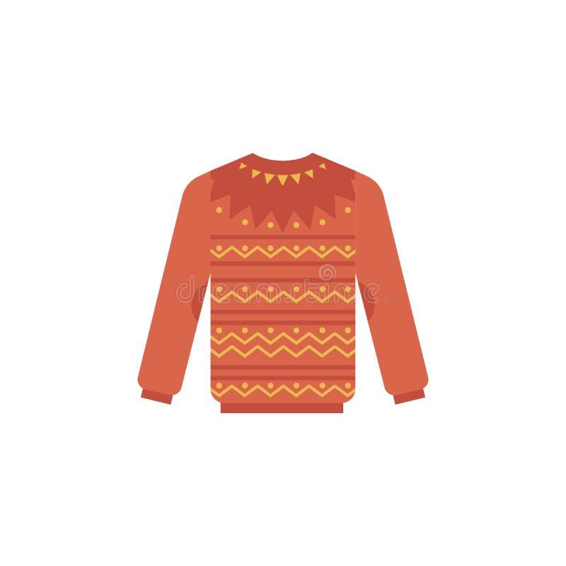 Ejemplo hecho punto del vector del suéter - jersey rojo caliente del invierno lindo con el modelo ilustración del vector