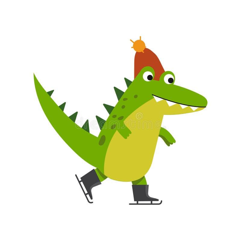 Ejemplo hecho punto patinador del vector del sombrero de la historieta que lleva del carácter divertido del cocodrilo stock de ilustración