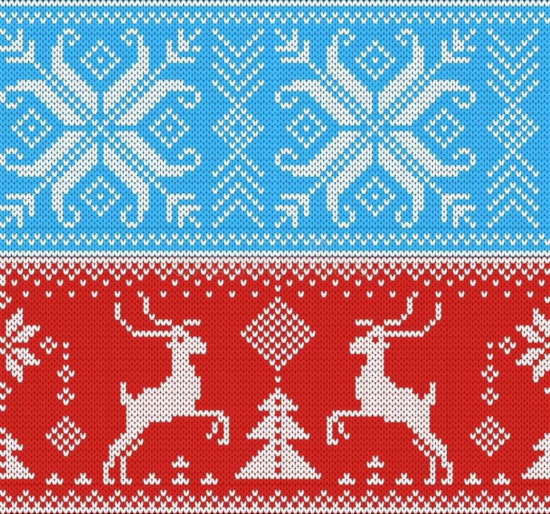 Ejemplo hecho punto tradicional del ornamento de la Navidad del suéter del invierno del fondo de la textura de las lanas del punt stock de ilustración