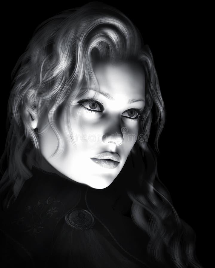 Ejemplo hermoso blanco y negro de la mujer libre illustration