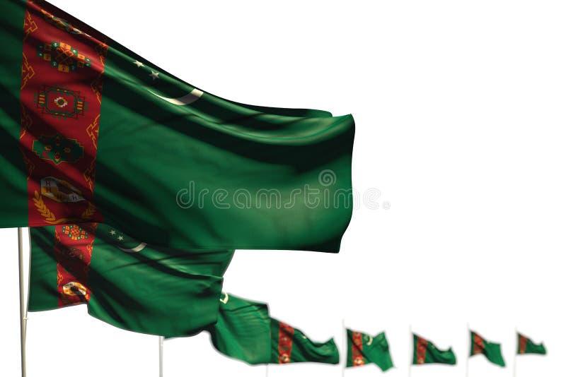 Ejemplo hermoso de la bandera 3d del día del himno - Turkmenistán aisló banderas puso diagonal, la imagen con el foco selectivo y stock de ilustración
