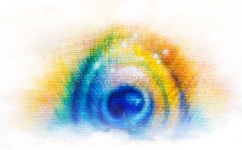 Ejemplo hermoso de la pluma del pavo real de la pintura del color en b blanco libre illustration