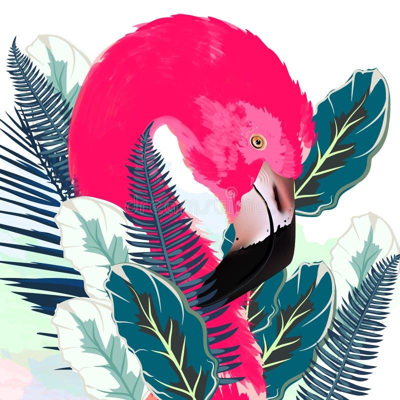 Ejemplo hermoso del vector con el flamenco y la palma rosados exhaustos libre illustration