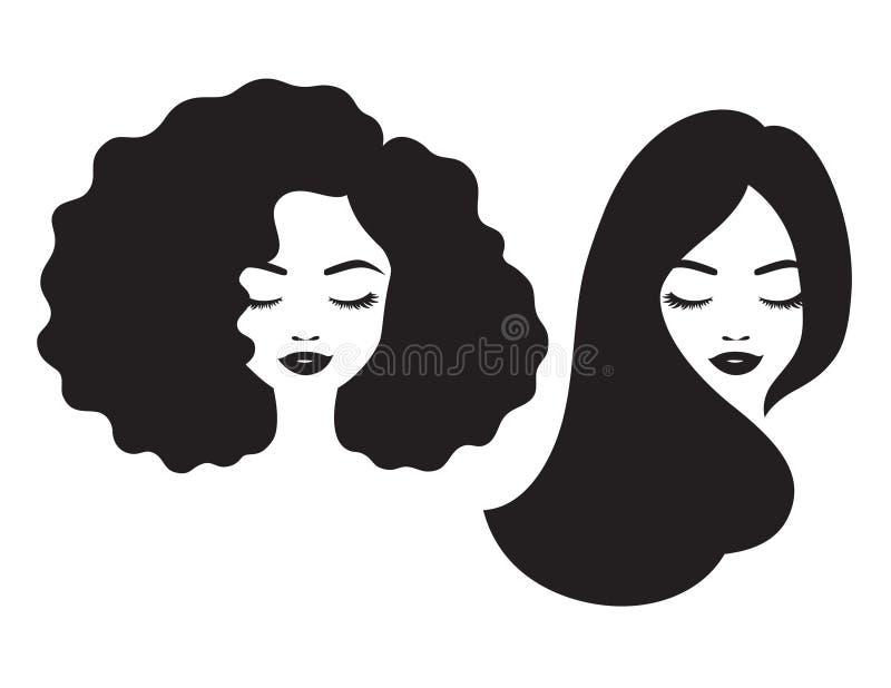 Ejemplo hermoso del vector de la silueta de la cara y del pelo de la mujer stock de ilustración