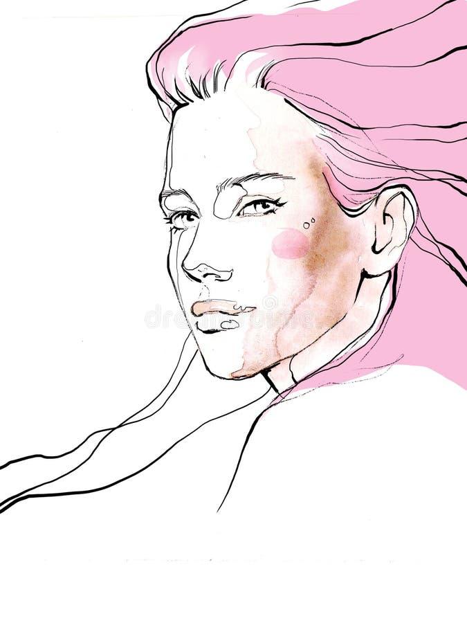 Ejemplo hermoso joven de la moda del retrato del drenaje de la muchacha foto de archivo