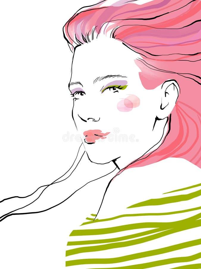 Ejemplo hermoso joven de la moda del retrato del drenaje de la muchacha fotos de archivo