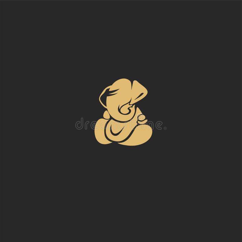 Ejemplo hindú de oro del vector del ganesh de dios ilustración del vector