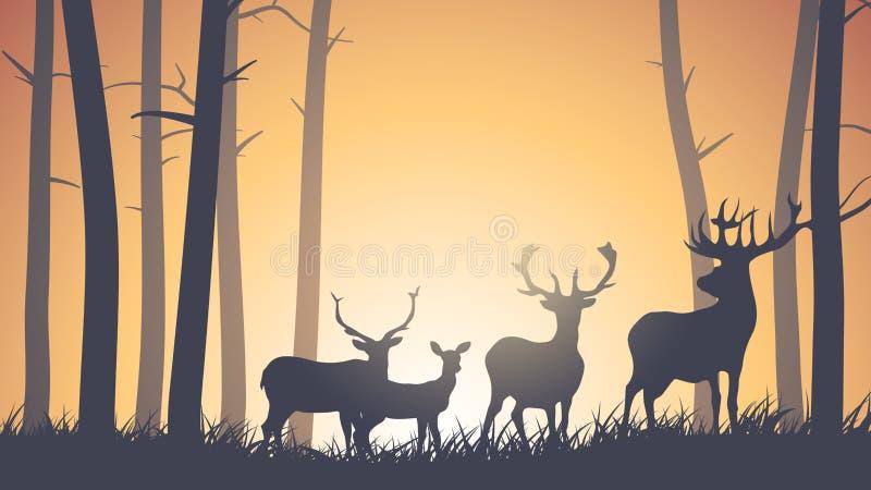 Ejemplo horizontal de animales salvajes en madera. stock de ilustración