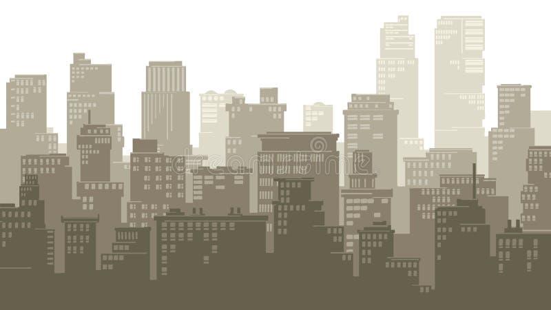 Ejemplo horizontal de la ciudad grande de la historieta libre illustration