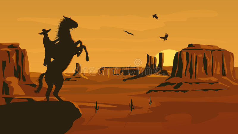 Ejemplo horizontal de la historieta del oeste salvaje de la pradera. ilustración del vector