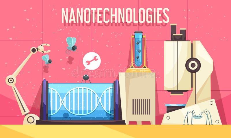 Ejemplo horizontal de las nanotecnologías stock de ilustración
