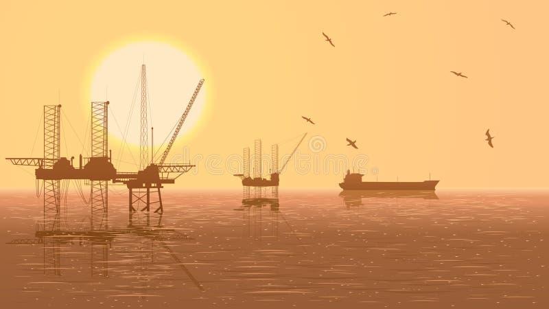 Ejemplo horizontal de las unidades para la industria de petróleo. stock de ilustración