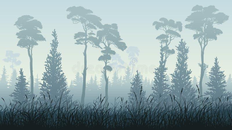 Ejemplo horizontal del bosque con la hierba stock de ilustración