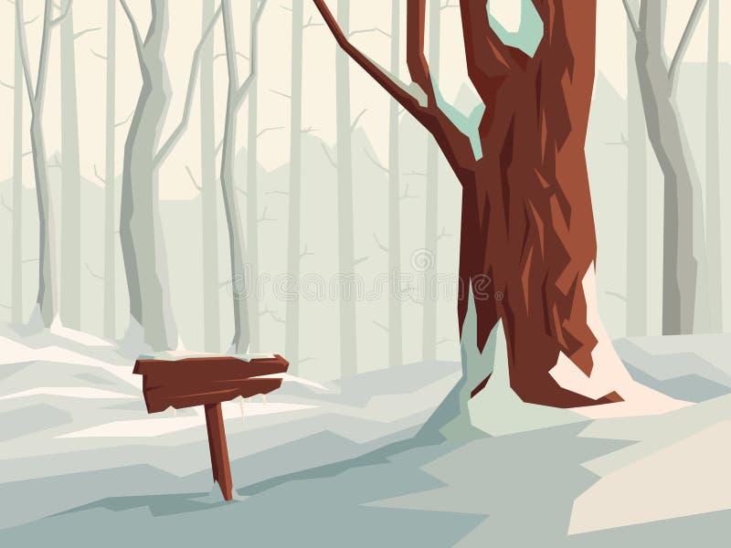 Ejemplo horizontal del bosque nevoso de la historieta con el poste indicador de madera libre illustration