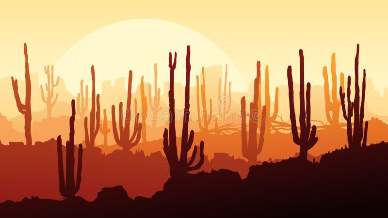 Ejemplo horizontal del desierto con los cactus en la puesta del sol stock de ilustración