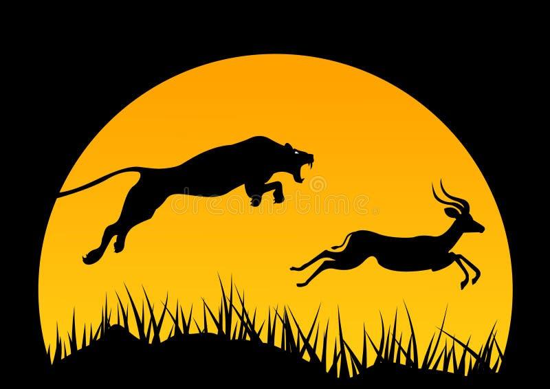 Ejemplo horizontal del vector de África Vida salvaje caza logotipo de África Jaguar y antílope árbol y animales stock de ilustración
