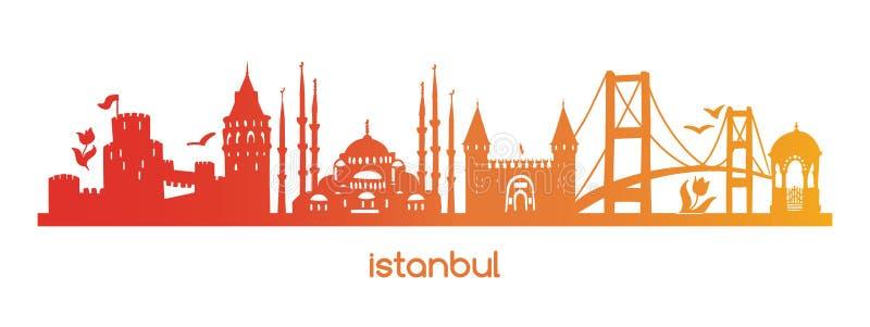 Ejemplo horizontal Estambul del vector con la silueta roja, anaranjada, amarilla de la pendiente de los símbolos turcos famosos,  stock de ilustración