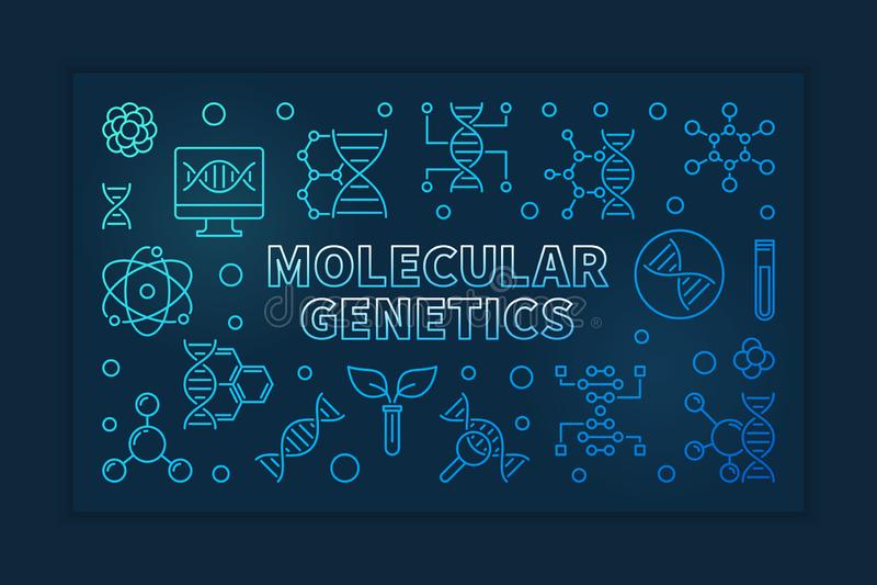Ejemplo horizontal linear azul del vector de la genética molecular stock de ilustración