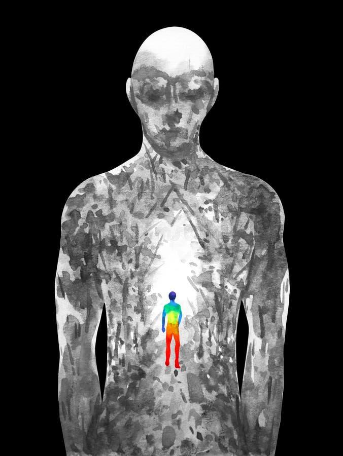 Ejemplo humano de la pintura de la acuarela del extracto de la manera del bosque que camina libre illustration