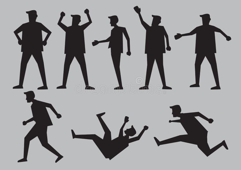 Ejemplo humano del vector de las siluetas de los gestos stock de ilustración