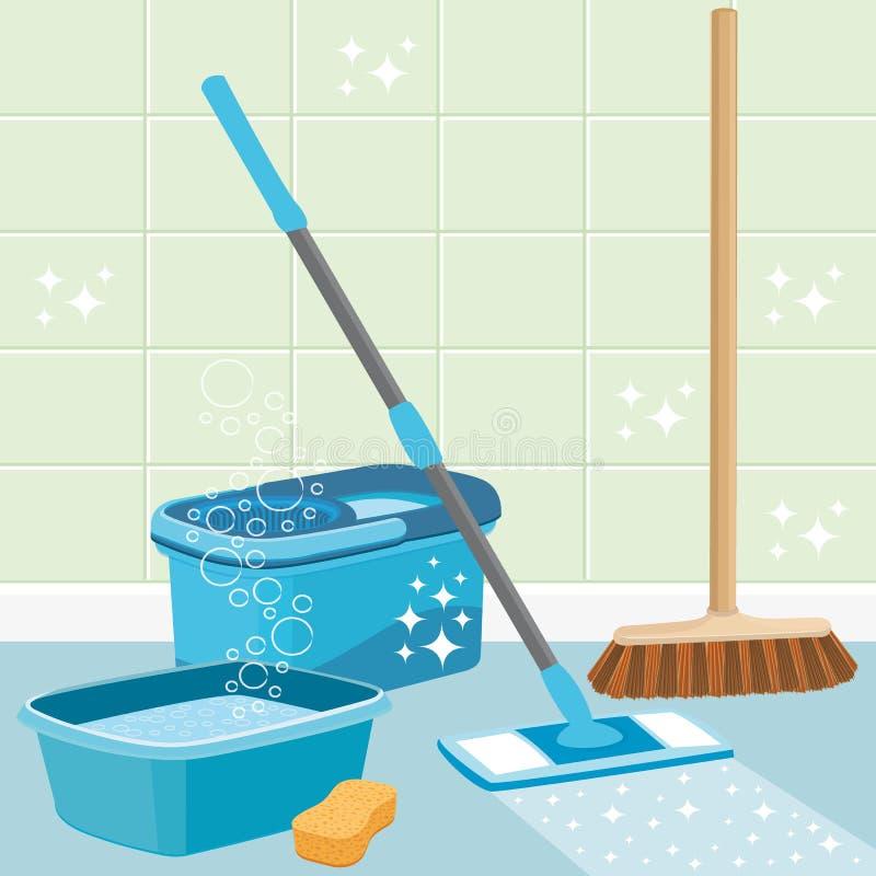 Ejemplo II de la limpieza de la casa Herramientas de la limpieza libre illustration
