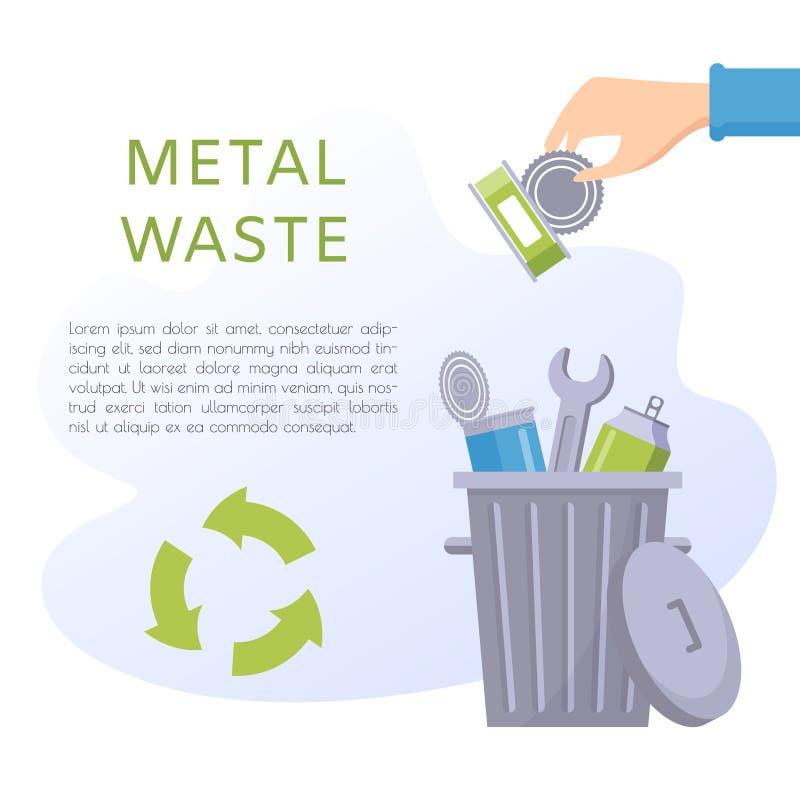 Ejemplo inútil del vector del metal Materia casera - alimentos enlatados, latas, llaves, poder de soda, herramientas, nuez, clavo ilustración del vector