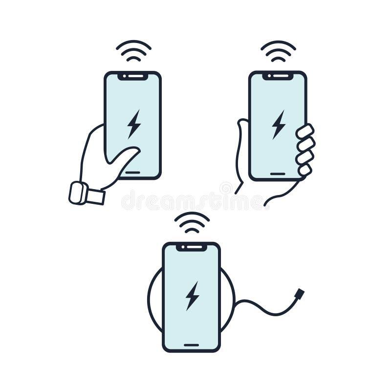Ejemplo inalámbrico del cargador Manos que sostienen smartphone Línea plana icono Conjunto azul del icono libre illustration