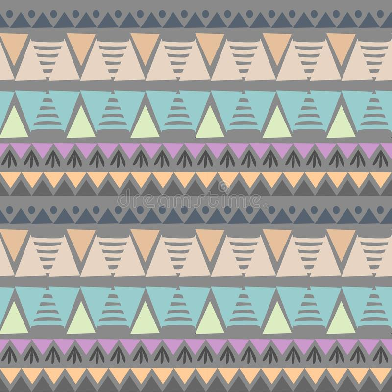 Ejemplo inconsútil azteca tribal del vector del modelo de los colores en colores pastel del triángulo del ikat colorido del galón ilustración del vector