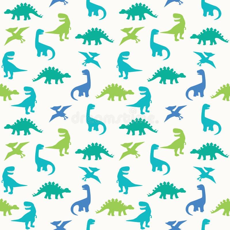 Ejemplo inconsútil azul del vector del modelo de la silueta del dinosaurio verde libre illustration