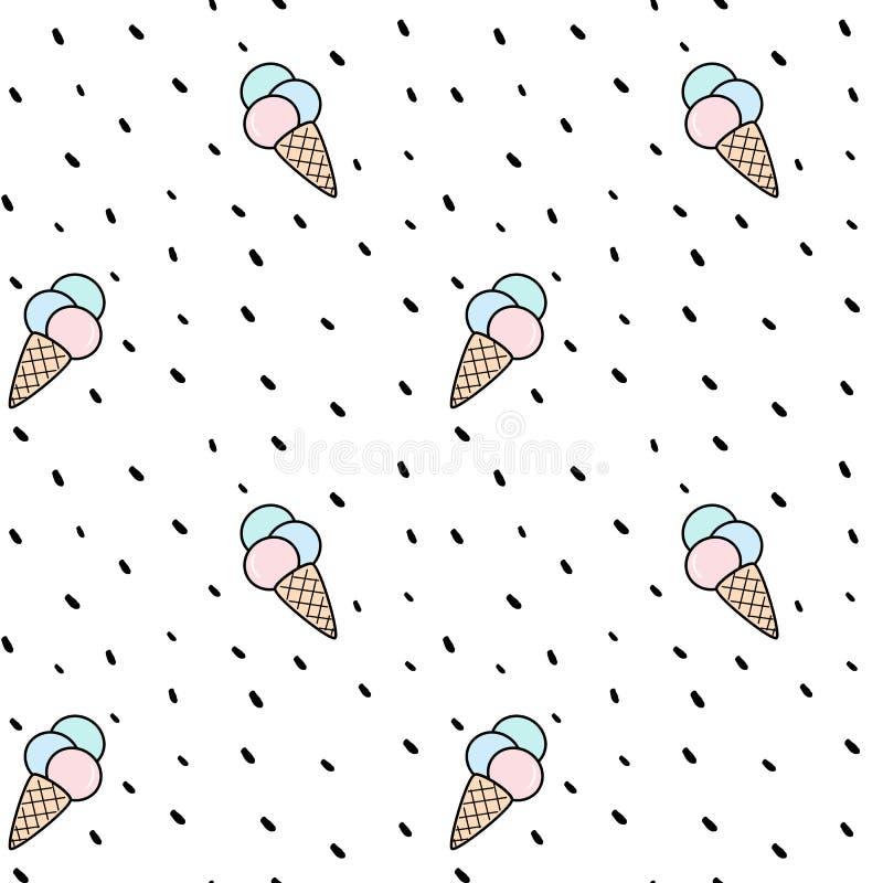 Ejemplo inconsútil colorido lindo del fondo del modelo del vector del helado del cono con los puntos ilustración del vector