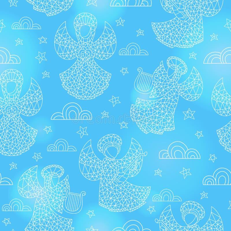 Ejemplo inconsútil con ángeles, nubes y estrellas del contorno del vitral en fondo azul libre illustration