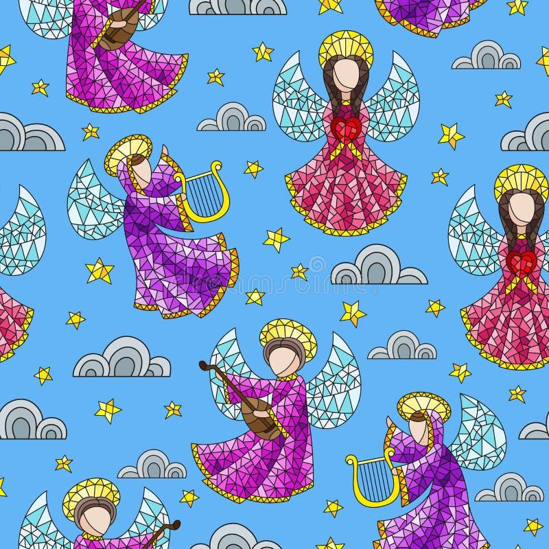 Ejemplo inconsútil con ángeles, nubes y estrellas del vitral en fondo azul ilustración del vector
