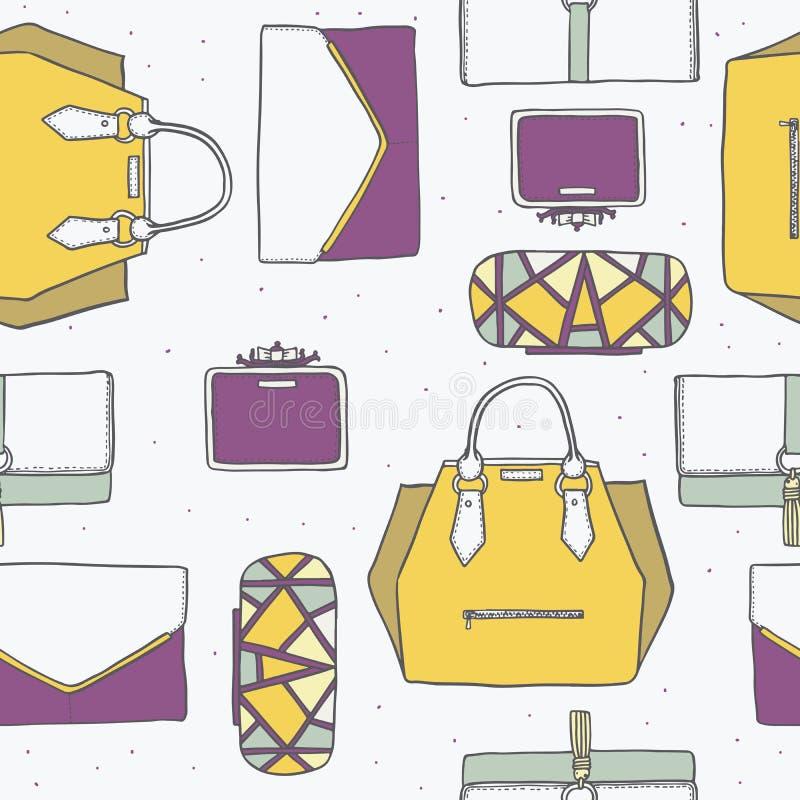 Ejemplo inconsútil con los bolsos lindos y los embragues amarillos, púrpuras y grises en modelo elegante de la moda Backgr dibuja stock de ilustración