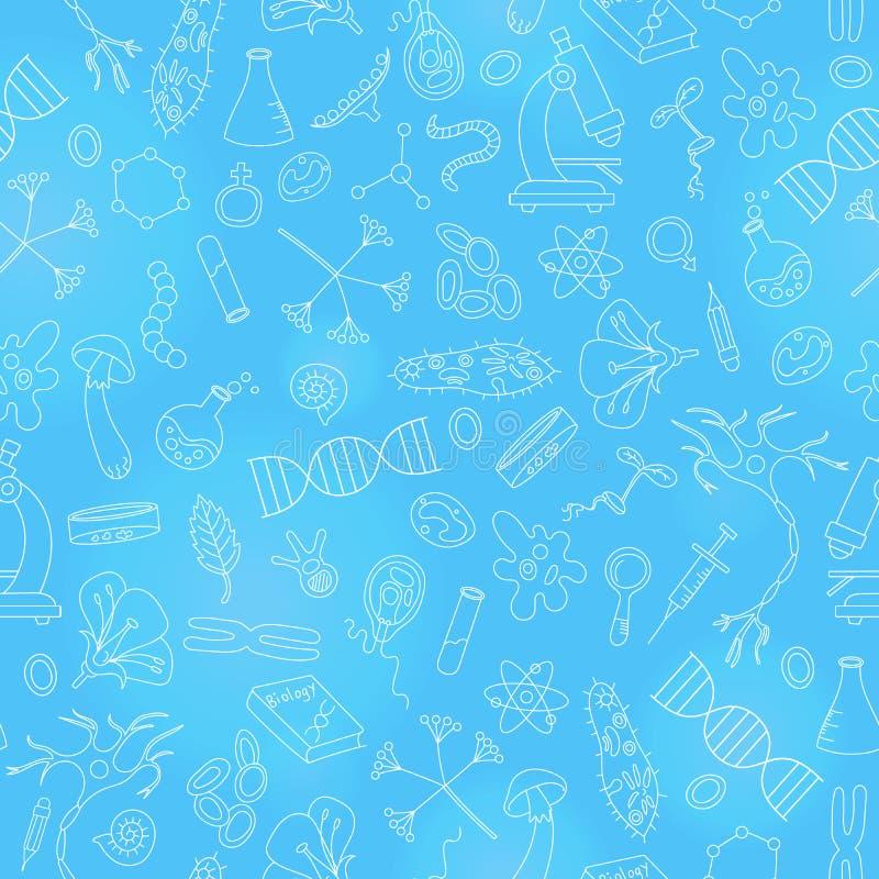 Ejemplo inconsútil con los iconos dibujados mano en el tema de la biología, esquema ligero en un fondo azul ilustración del vector