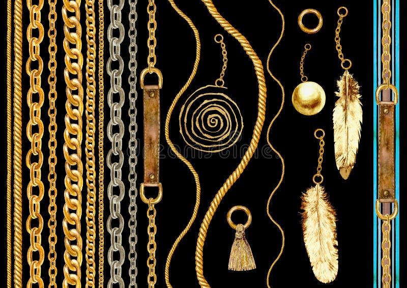 Ejemplo inconsútil de cadena de oro del sistema del modelo del encanto Textura de la acuarela con las cadenas de oro stock de ilustración