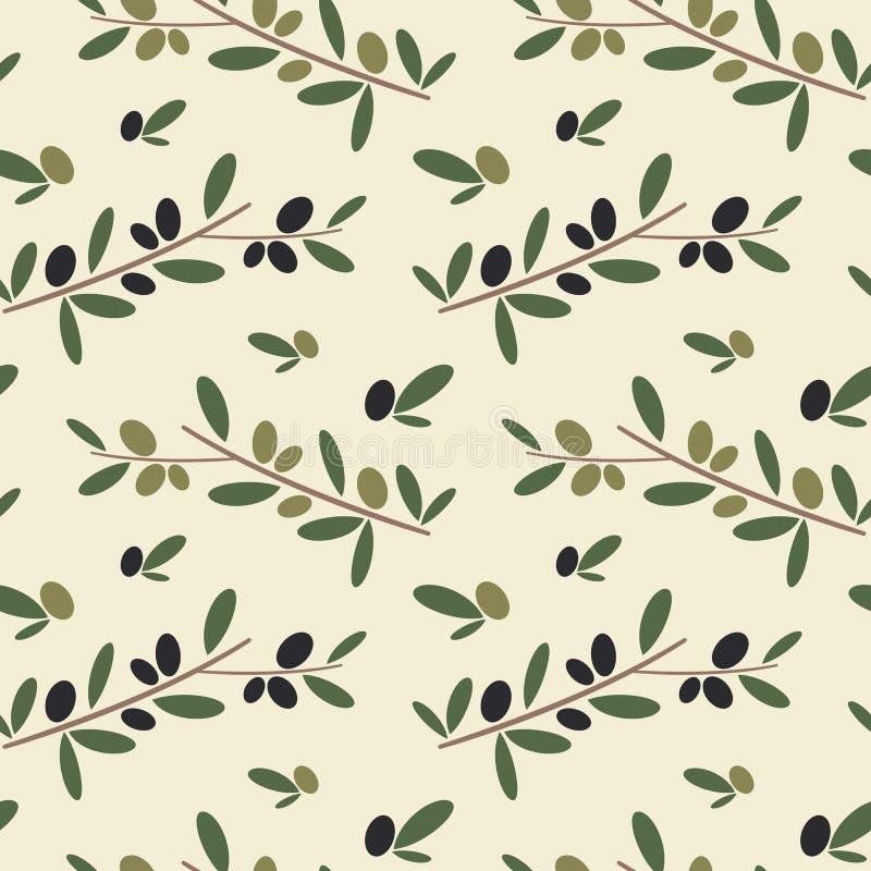 Ejemplo inconsútil del fondo del modelo de la rama de olivo negra y verde libre illustration