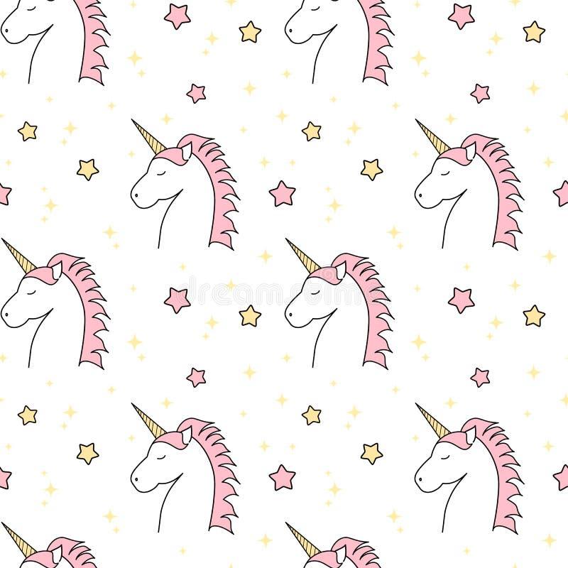 Ejemplo inconsútil del fondo del modelo del unicornio lindo de la historieta con las estrellas stock de ilustración