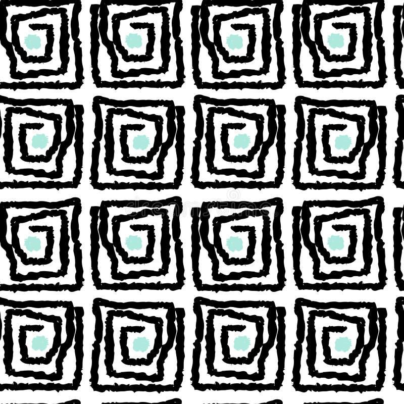 Ejemplo inconsútil del fondo del modelo del vector del grunge del cuadrado abstracto azul blanco negro del espiral stock de ilustración