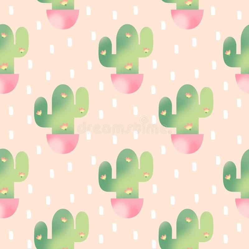 Ejemplo inconsútil del fondo del modelo de la acuarela linda con los cactus suculentos en un pote libre illustration