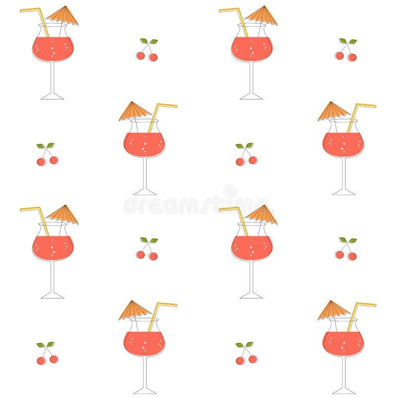 Ejemplo inconsútil del fondo del modelo del vector de los cócteles lindos del verano libre illustration