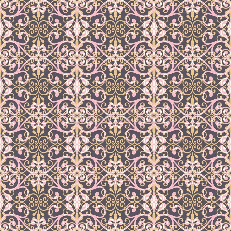 Ejemplo inconsútil del modelo de hojas de encaje, floral abstractos y de remolinos en la disposición geométrica stock de ilustración