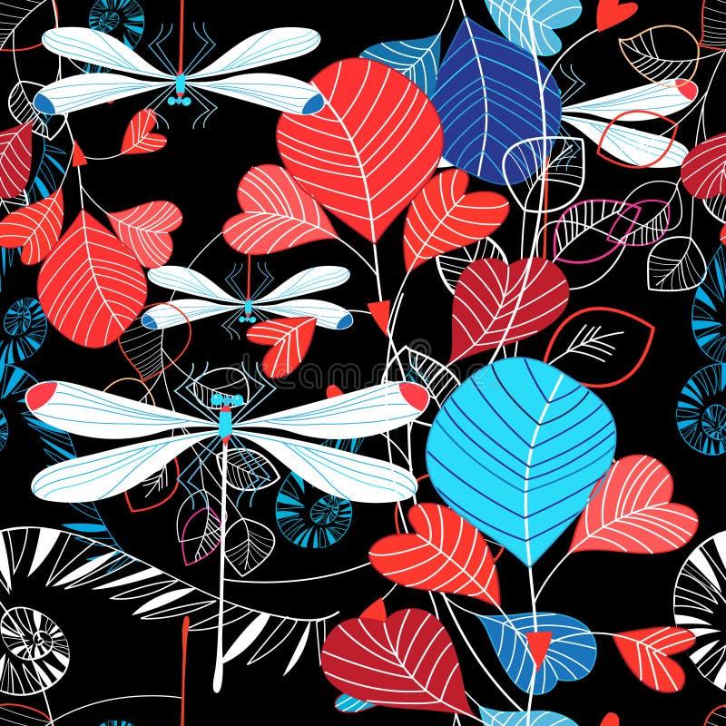 Ejemplo inconsútil del modelo de las hojas y de la libélula del verano stock de ilustración