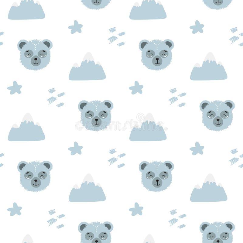 Ejemplo inconsútil del modelo del garabato lindo de la historieta con el oso azul mullido lindo Textura sin fin con el fondo gráf ilustración del vector