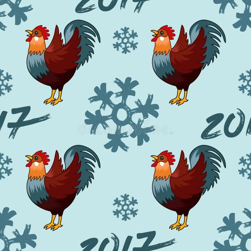Ejemplo inconsútil del modelo para el gallo del gallo del rojo de la Feliz Año Nuevo 2017 ilustración del vector