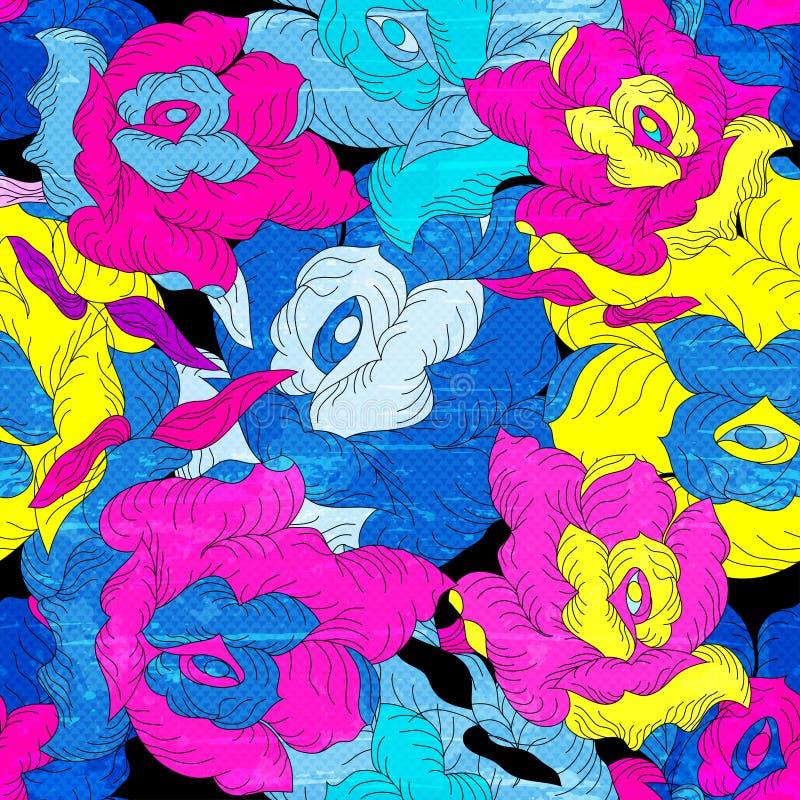 Ejemplo inconsútil del vector de la textura del grunge del modelo de las rosas psicodélicas del color libre illustration