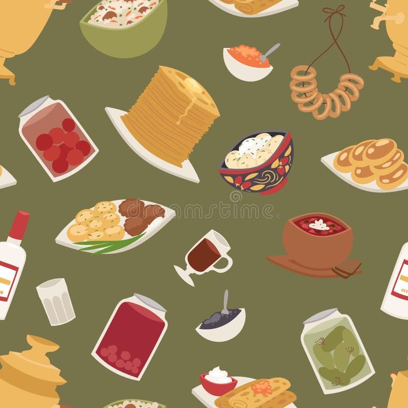 Ejemplo inconsútil del vector del fondo del modelo de la cocina de cultura del plato de la comida rusa tradicional del curso stock de ilustración
